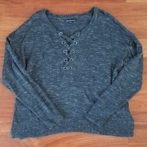 Lace-up Neckline Sweater